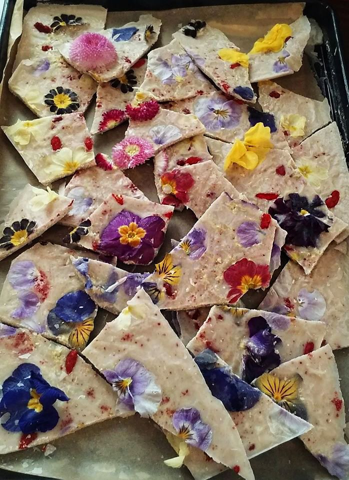 Try this Organic #Coconut Bark made with edible #flowers, hmmmm                                                                                                                                                                                 More