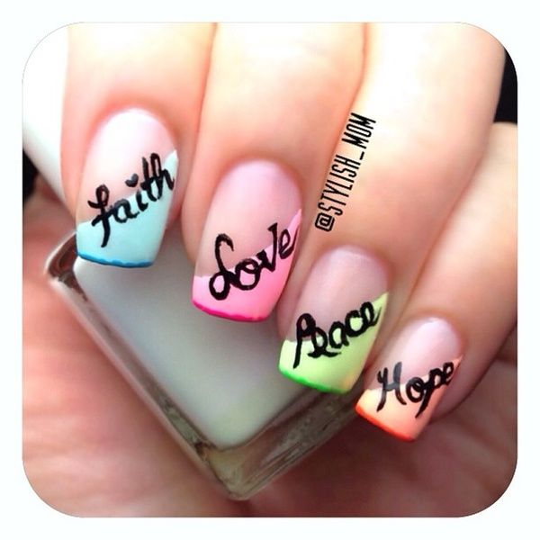 i;d do this but only with the love on the accent nail...the others are too overwhelming i think