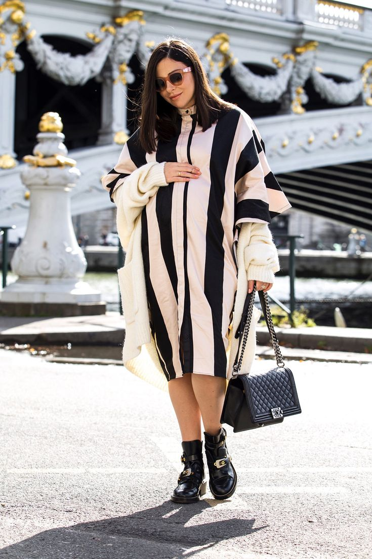 Stripes And Ruffles For The Last Day Of PFW - Maternity - pregnancy style