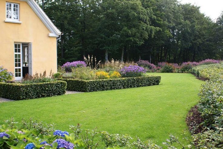 Blomster i efteråret - gult hus med blå/ lilla blomster.... Smuk komposition