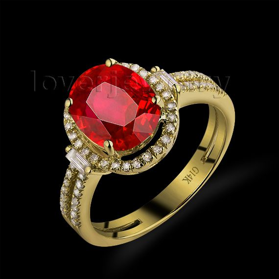 Hot!Oval 8x10mm 14Kt Yellow Gold Diamond Ring Ruby,Engagement Ruby Ring For Sale G090795