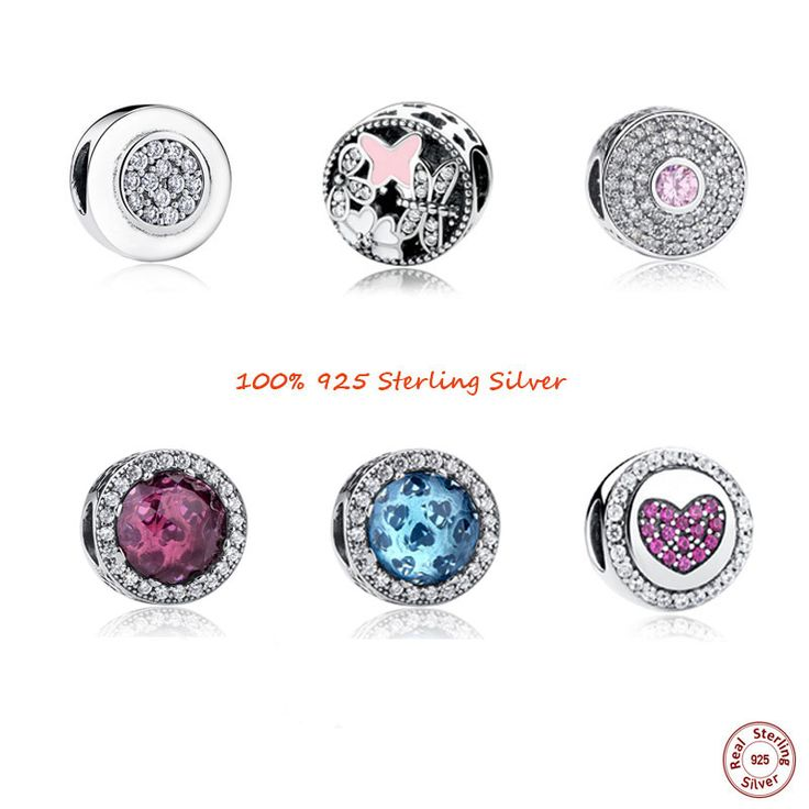 BISAER Signature Crystal Flower Beads Charms fit Charm Pandora Bracelet Necklace Sterling Silver DIY Jewelry Accessories Making