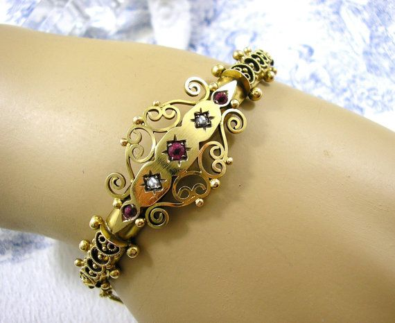 Victorian Gold Bracelet Etruscan Bangle with Rose Cut Diamonds and Ruby by KittysJewelryBox, $1279.00 Dreaming of Castellani Etruscan Style Bracelet! Visit us at Etsy or www.KittysAntiqueJewelry.com