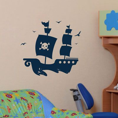 Cool wall decal for a pirate room, love the waves already cut out below...would be cute with a 2 tone bedroom, floating on the border of the colors