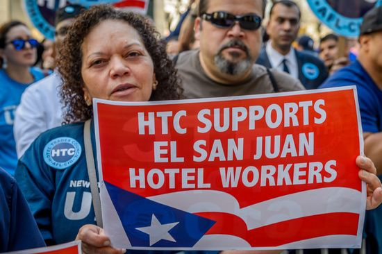 Workers from the New York Hotel & Motel Trades Council organized a protest on April 11th, 2017; against Fundamental Financial Advisors, an owner of the El San Juan Hotel, for the mistreatment and exploitation of hotel workers in Puerto Rico. On Monday, Fundamental Financial Advisors, an American hedge fund playing a role on the Puerto Rican debt crisis, started replacing long-time female employees with younger women - and refusing to negotiate a fair labor contract. New York officials have…
