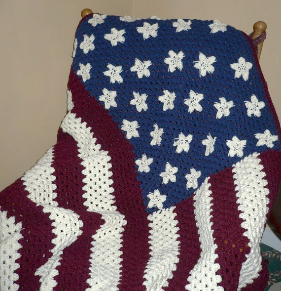 American Flag Crochet American The Red White Blue