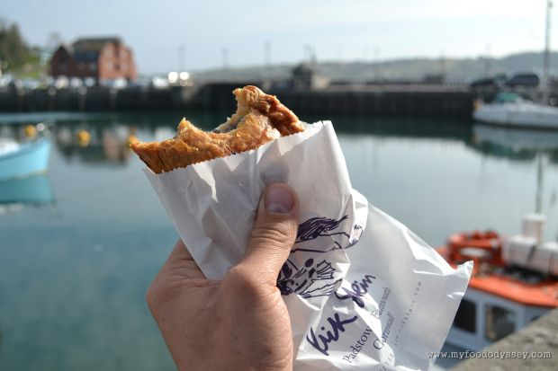 A delicious Cornish pasty from Rick Stein's deli in Padstow, Cornwall.