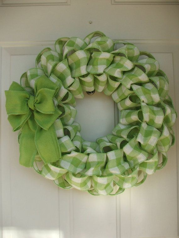 St. Patricks Day, Spring, Easter, Faux Burlap Green Gingham Wreath