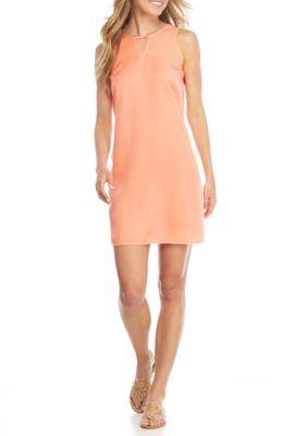 Crown & Ivy™ Women's Petite Solid Sleeveless Swing Dress - Max Orange - Pxs