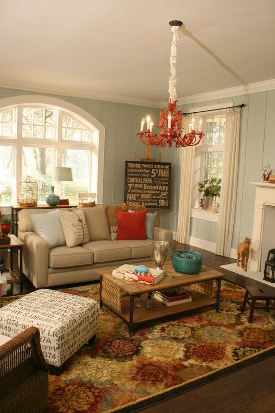 Luv this neutral room with pops of color