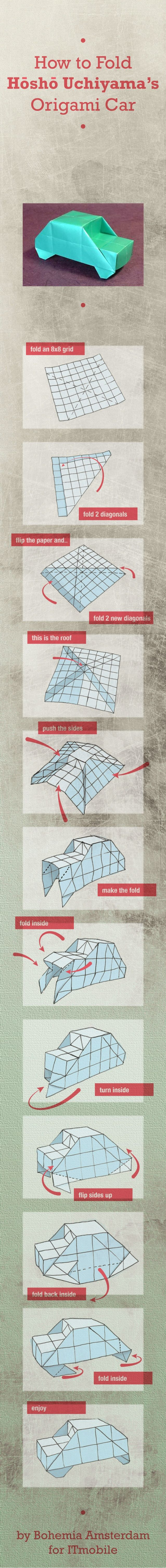 How to fold the famous Hosho Uchiyama 3D paper origami car in 12 steps.