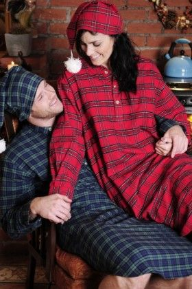 Green Tartan and Red Tartan Lee Valley Flannel Nightshirt