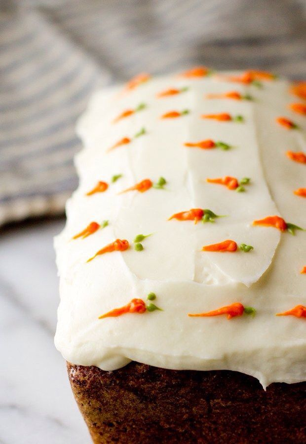 Carrot cake for Easter, very cute decoration. You could do this on cupcakes too