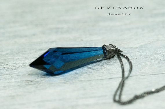 40mm Blue Drop Crystal Necklace Sapphire Blue Pendant by DevikaBox