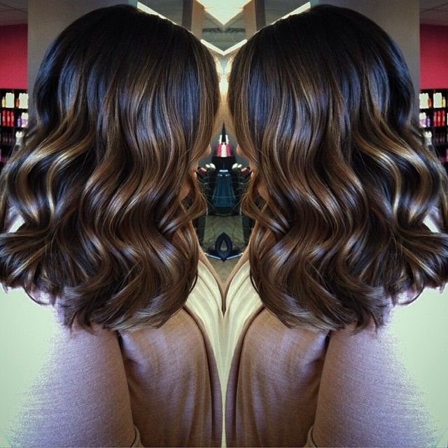 balayage brunette medium length hair
