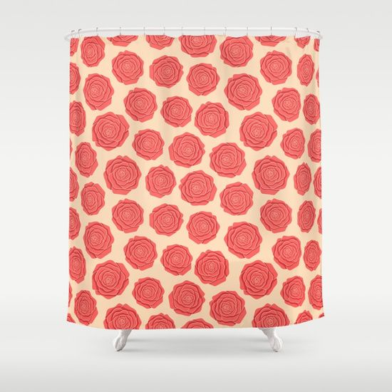 Roses Pattern Shower Curtain #roses #flowers #art #illustration #botanical #nature #red #blossom #floral #faerieshop #pink #pattern #beige #delicate #cute #pastel #trendy #girly #girlish #romantic #vintage #cool #bathroom #society6 #decor #decoration