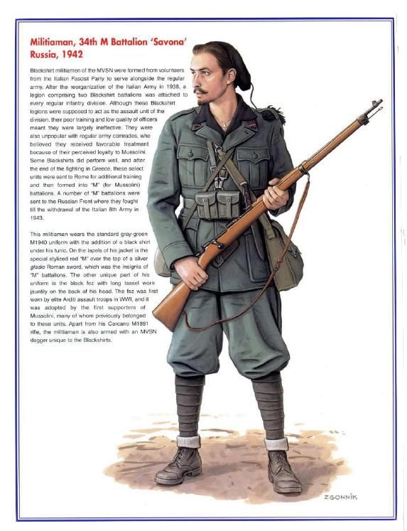 """MSVN - Camicia nera, 34o battaglione M """"Savona"""", Russia 1942"""