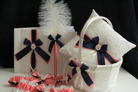 Coral Navy Wedding Bearer Coral Navy Flower Girl Basket