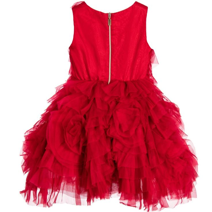 Girls striking red, occasion dress by Quis Quis, featuring tier upon tier of raw-edged silk organza on tulle. Fully lined in silky red viscose with a tulle frill for extra volume, the skirt can be made even fuller with the matching tulle-frilled petticoat. There is an exposed gold zip at the back with a logo pull tab.