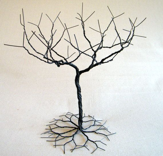 Black Jewelry tree Stand. Jewelry holder organizer by KunsWerk