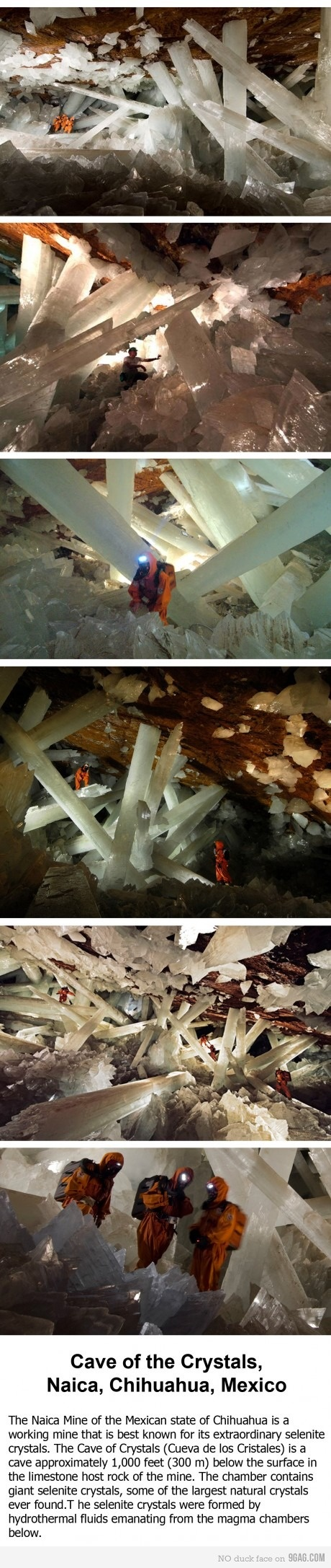 Höhle der Schwerter in Naica, Mexiko. Sie liegt 120 Meter tief und Boden, Decke…