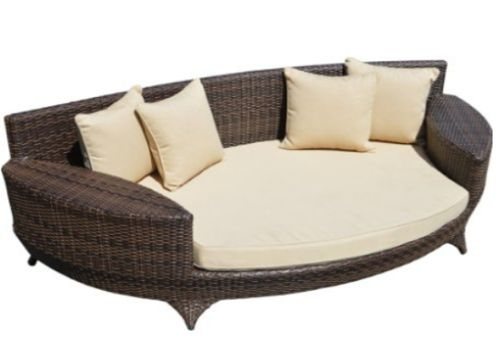 Love Sofa Day Bed Brown All Weather Synthetic Outdoor