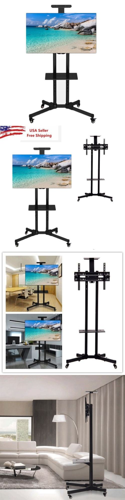 TV Mounts and Brackets: Tv Cart Lcd Led Plasma Flat Panels Mobile Stand Mount With Wheels Fits 25 - 65 BUY IT NOW ONLY: $67.0