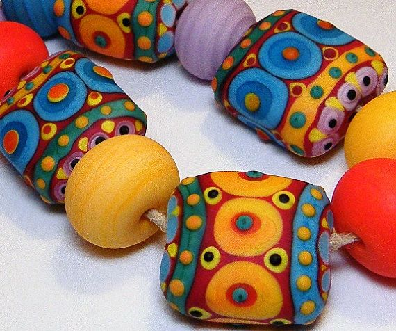 """Handmade Lampwork Glass Beads SRA Nelli Rees (14) """"Byzantine"""" Loose Set of Chunky Pillow beads etched"""