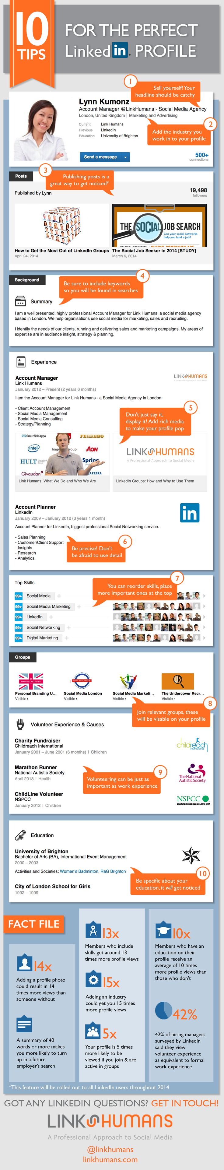 How To Optimize Your LinkedIn Profile So Recruiters Come To You. Infographic from British social media consultancy LinkHumans.