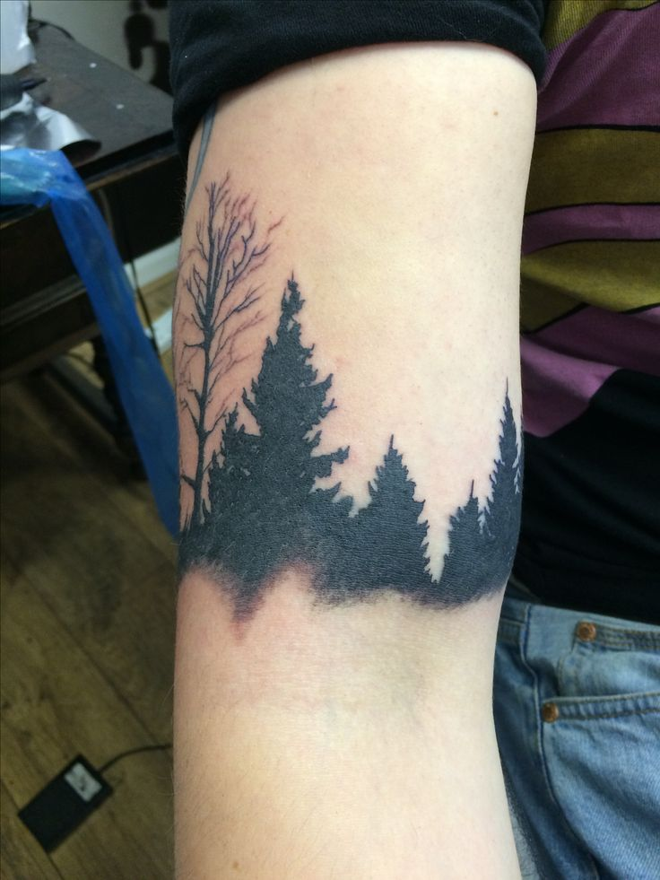 Tree silhouette tattoo done by Travis Allen at twisted tattoo Yaxley Www.twistedtattoo.co.uk Or fine us on Facebook