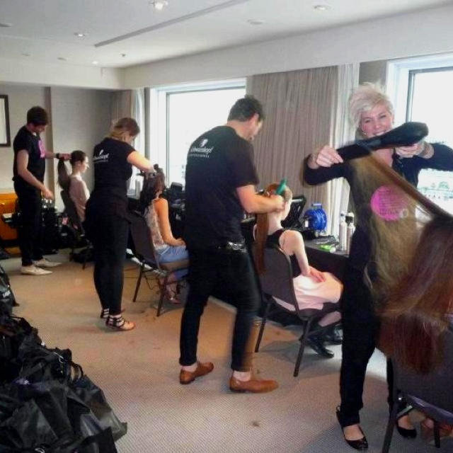 The Sloans team styling hair for Fashion Palette launch 2012.