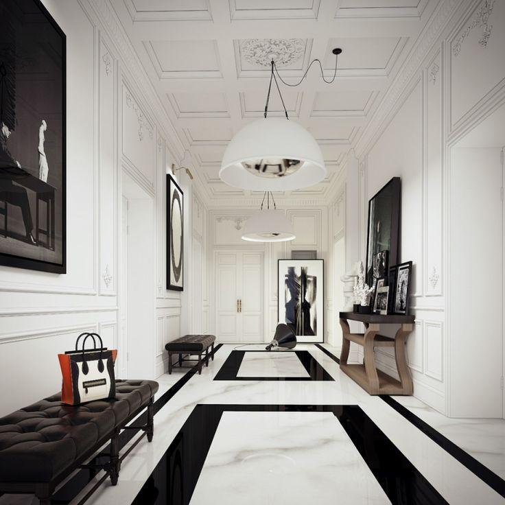 Klassik trifft Modernes - klassischer Bodenbelag in schwarz-weiß und zeitgenössische Deko