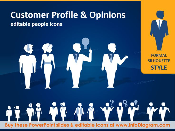 Customer Profile People Silhouettes (PPT icons clipart - customer profile