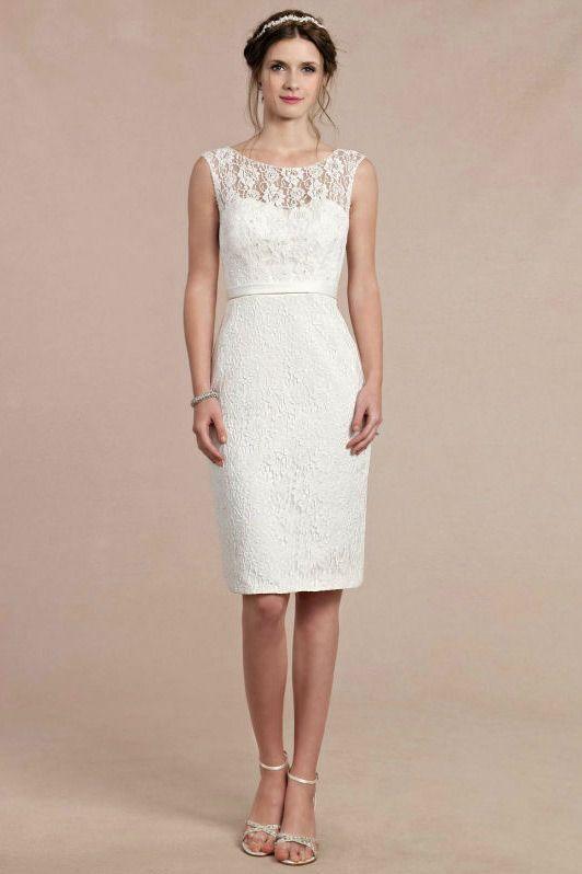 Schlichtes Ivory Rund Ausschnitt Etui Linie Brautkleider aus Spitze Persunshop