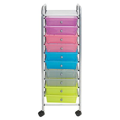 pink 10 drawer storage cart 1