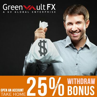 Are you ready for the withdrawable deposit bonus?  Greenvault #FX introduces 25% #WithdrawBonus for every payment you make in your live account.  ~~ Check out the Greenvault FX withdraw bonus