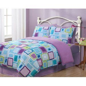 Twin Purple Blue Green Geometric Pattern Reversible Comforter Set Girls Kids Teens From Creativebedding