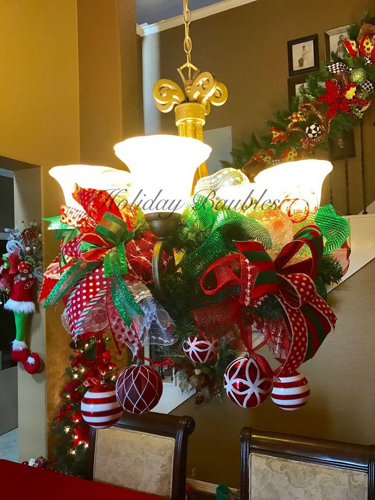 The 25 best christmas chandelier decor ideas on pinterest for Christmas chandelier decorations ideas