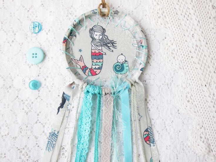 Mama Mermaid Dream Catcher, Nursery Decor, Aqua Blue & Grey, Shabby Chic Lace Dream Catcher, Baby Room, Made to Order by BubblegumSass on Etsy https://www.etsy.com/listing/262527707/mama-mermaid-dream-catcher-nursery-decor