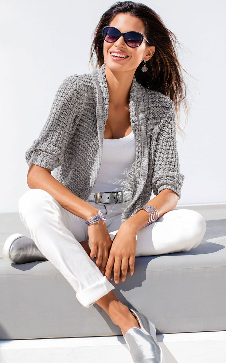 Light Grey Cardigan ,white top & skinnies