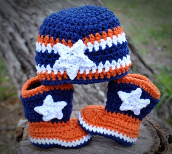 Cute Broncos booties and hat - I WILL make these for my next grandchild!