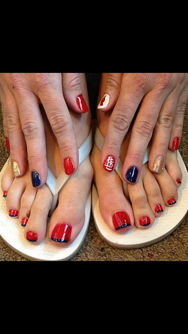 stl cardinals nail art in 2019