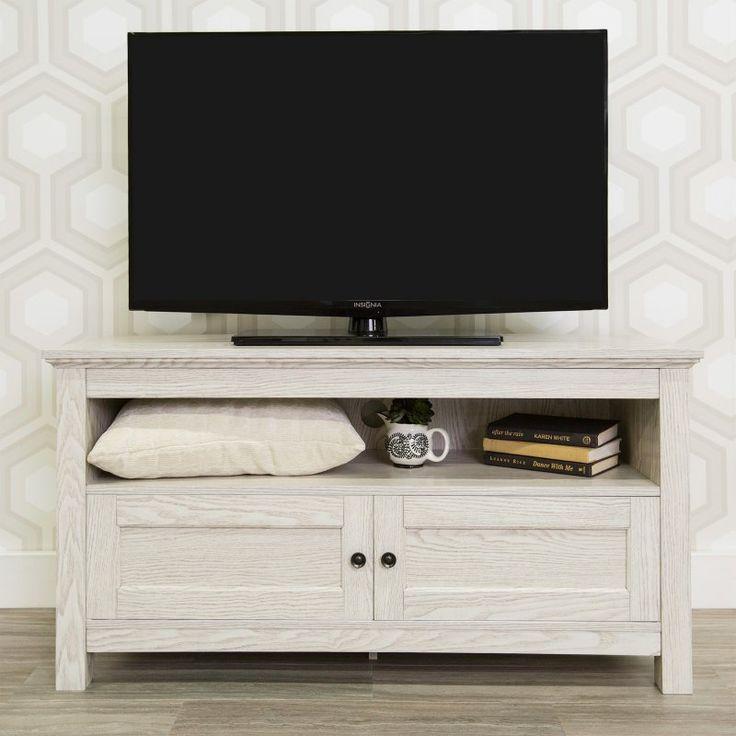 Walker Edison 44 in. White Wash Wood TV Stand - HNQ44CSWW
