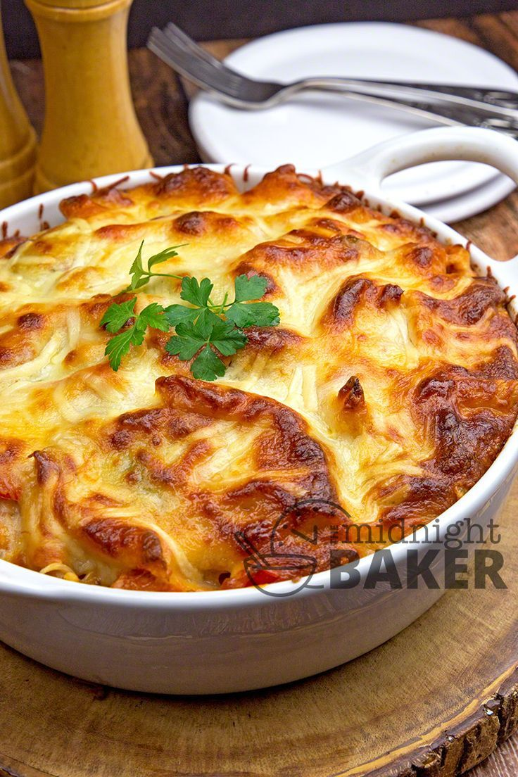 Casserole chock full of Italian goodness--pasta, sauce, chicken, sausage, veggies and tons of cheese.