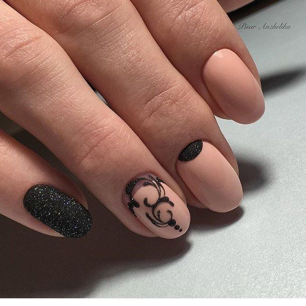 Beautiful nails, Black and beige nails, Black and pink nails, Elegant nails…