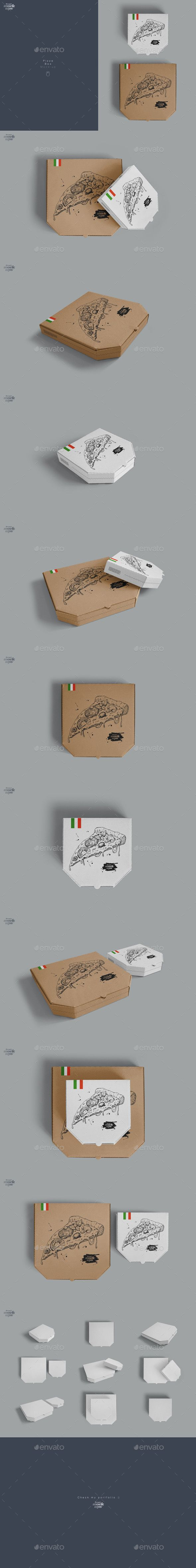 Pizza Box Mockup Design Template - Food and Drink Packaging Mock Up Design Template PSD. Download here: https://graphicriver.net/item/pizza-box-mockup/17032726?s_rank=21&ref=yinkira