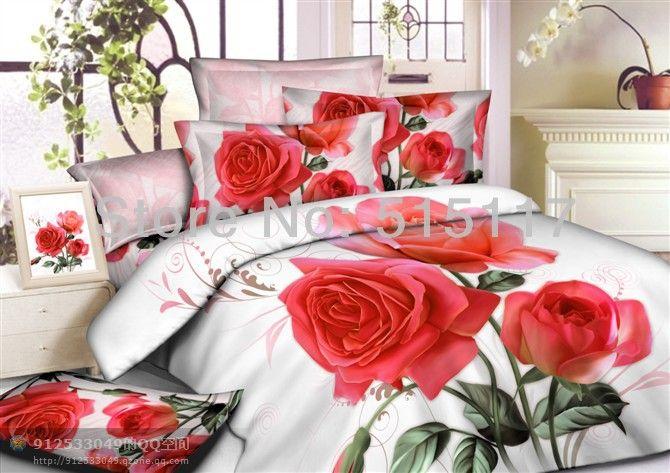Colcha folha red rose travesseiro 4 pcs conjuntos de cama casos 3d cama conjuntos vivas capa de edredon conjunto queen e king size coverlet*...