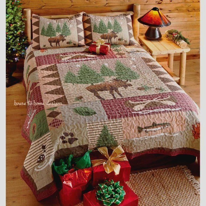 MOOSE LODGE Full/Queen or King QUILT SET -BEAR FISH LOG CABIN MOUNTAIN COMFORTER #Lodge