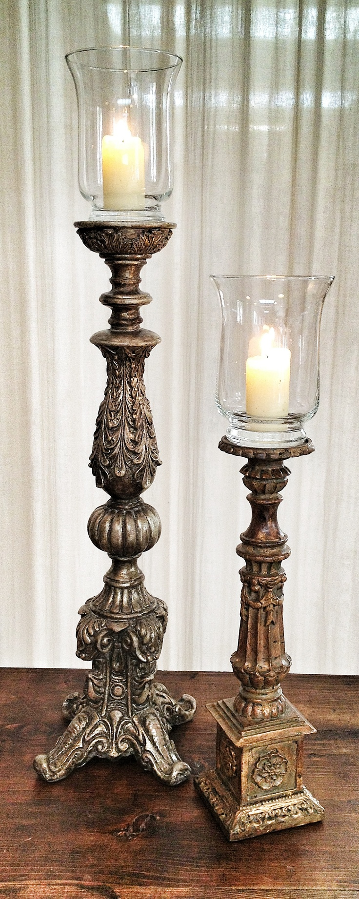 Aged silver/gold candle holders (pcs 14 mix)