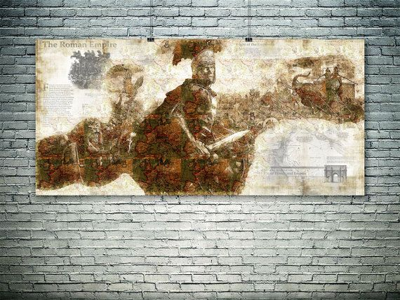 Roman Empire map Ancient Rome art wall art print by PasteUpStore